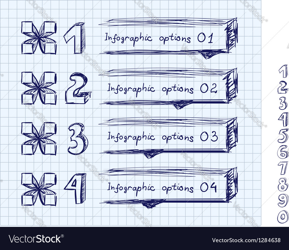 Doodle style number options banner vector   Price: 1 Credit (USD $1)