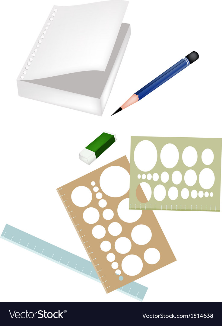 Drawing equipment with a white blank notebook vector | Price: 1 Credit (USD $1)