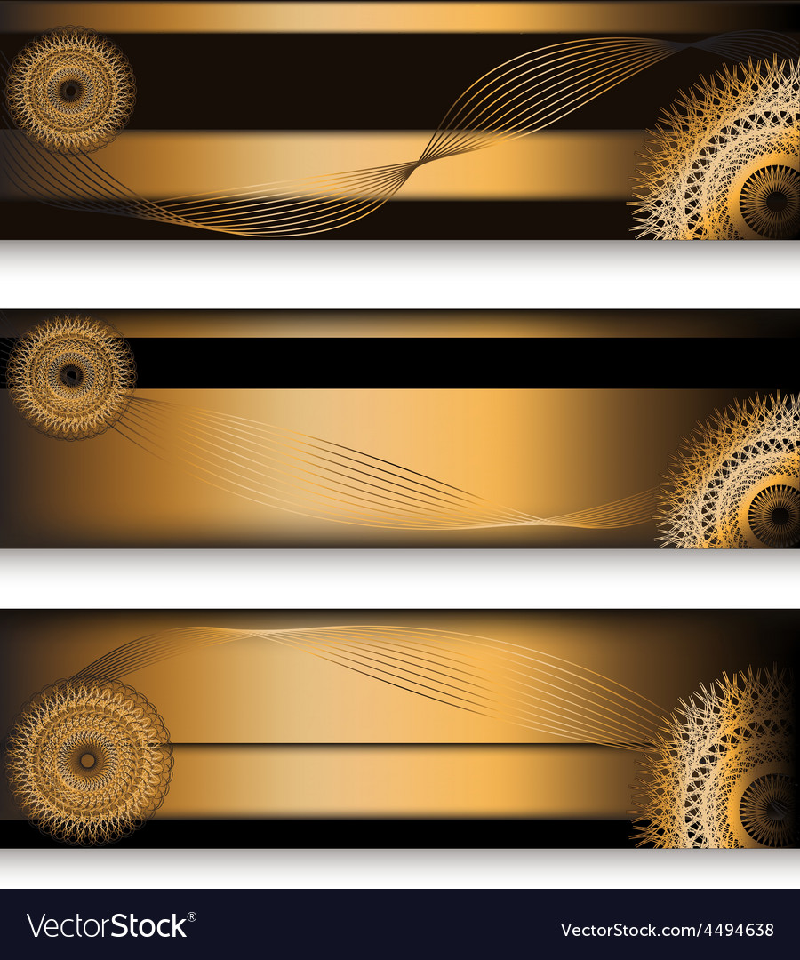 Golden headers set in three choice vector | Price: 1 Credit (USD $1)