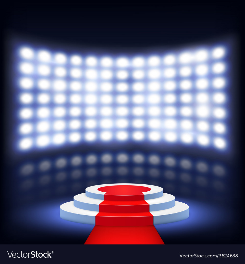 Illuminated podium for ceremony with red carpet vector | Price: 1 Credit (USD $1)