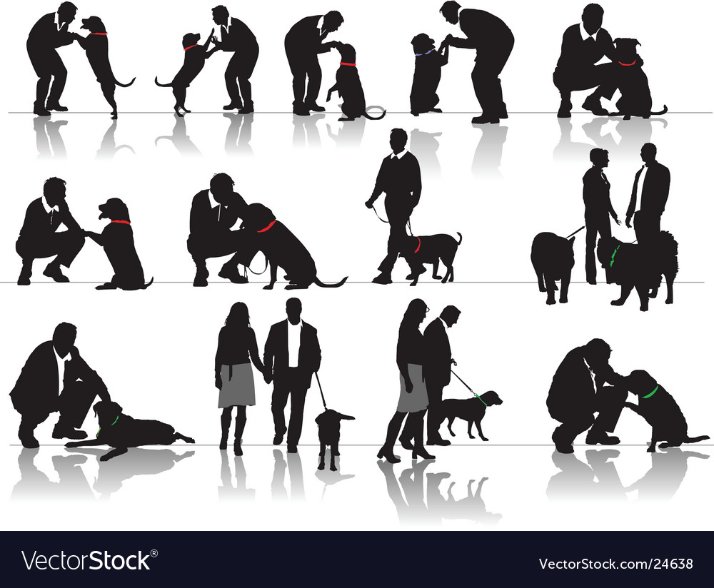 Man and woman with dog vector | Price: 1 Credit (USD $1)