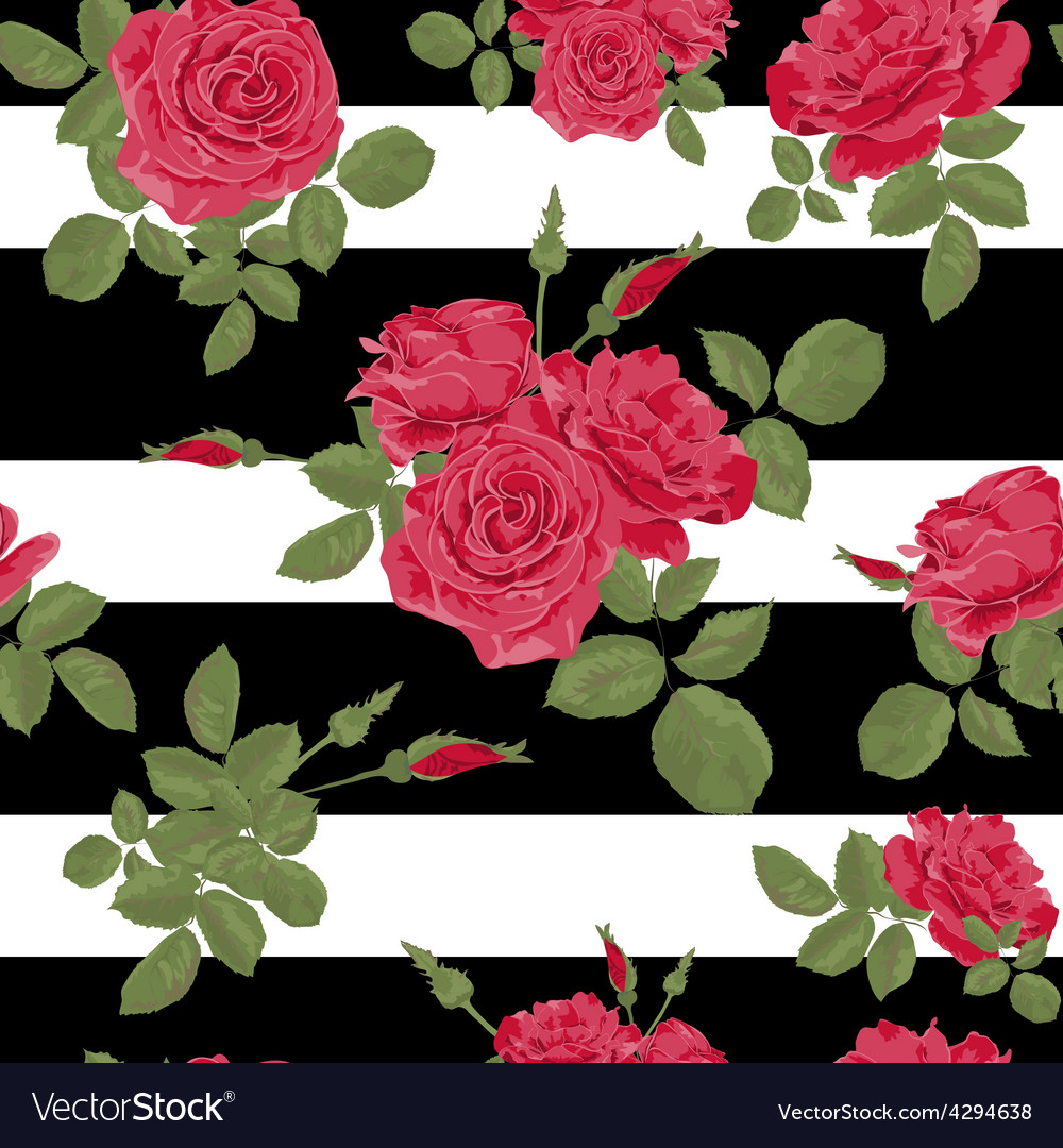 Seamless flower red roses pattern with horizontal vector | Price: 1 Credit (USD $1)