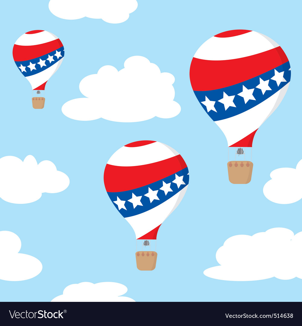 Seamless pattern with patriotic hot air balloons vector | Price: 1 Credit (USD $1)