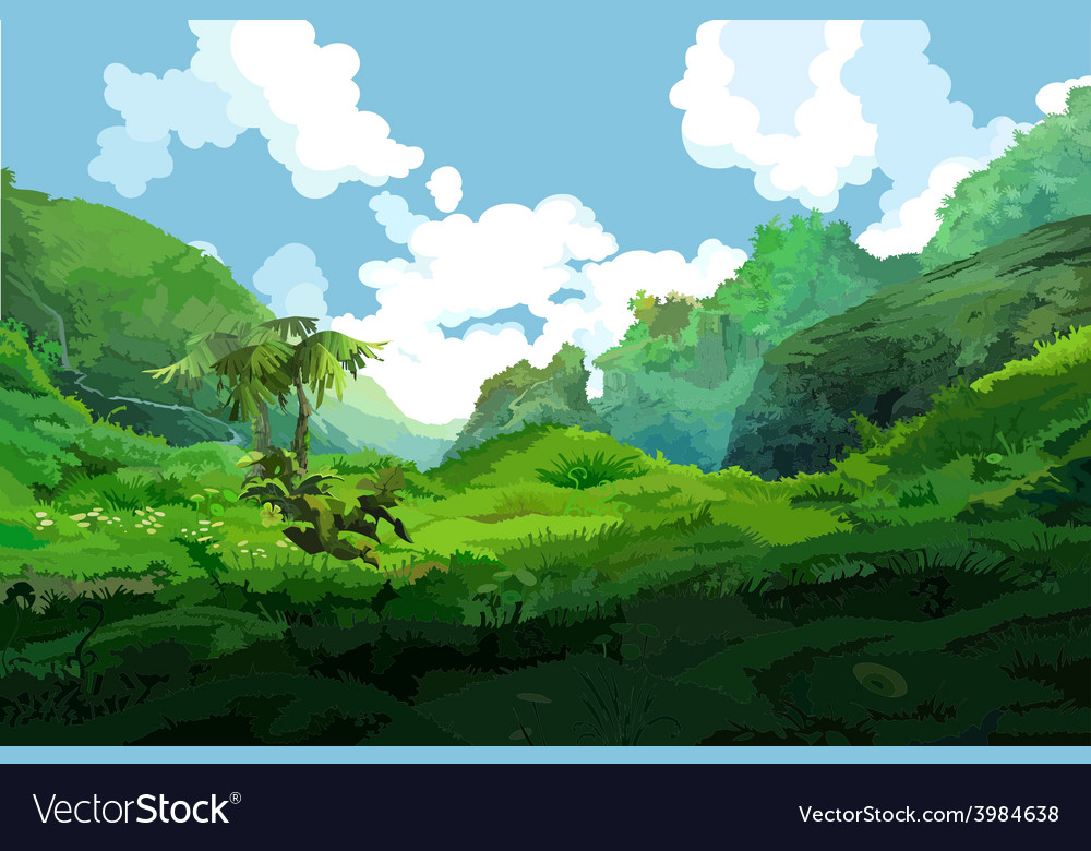 Tropical green mountains vector | Price: 3 Credit (USD $3)