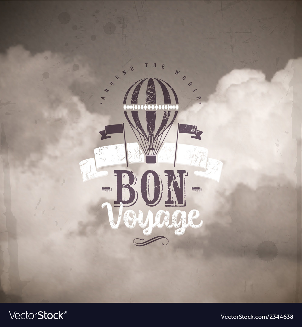 Vintage type design with hot air balloon vector | Price: 1 Credit (USD $1)