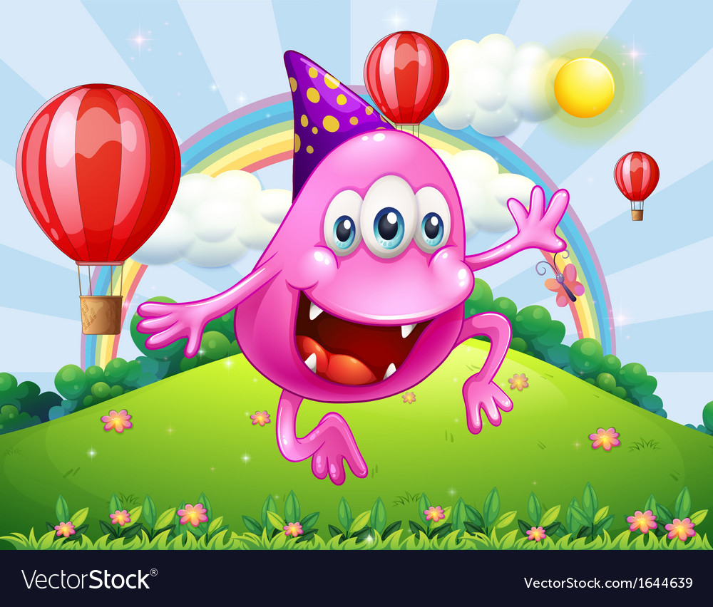 A happy pink beanie monster jumping at the hilltop vector | Price: 3 Credit (USD $3)