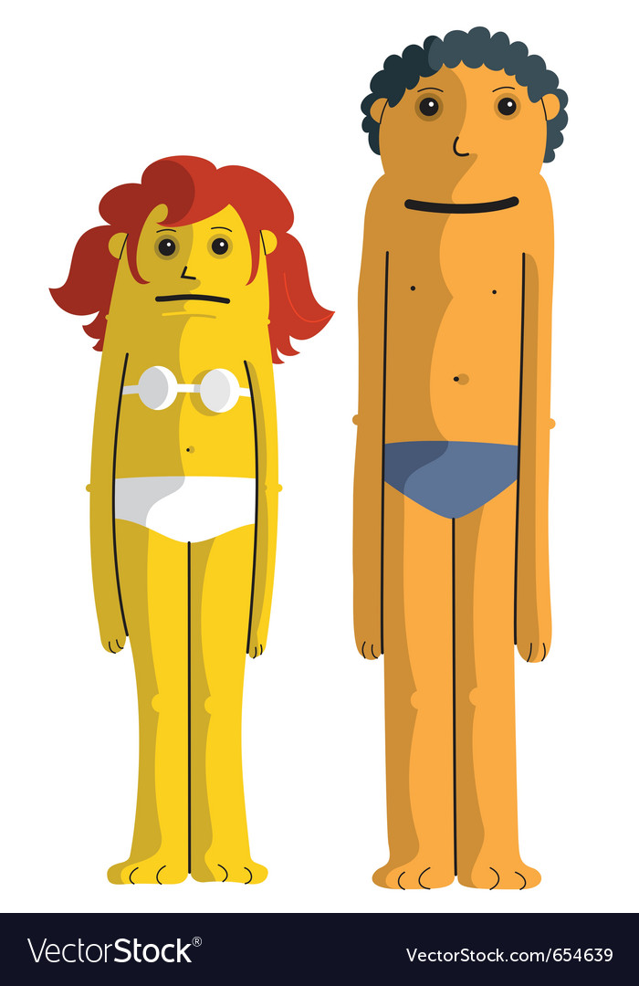 Beach girl and boy vector | Price: 3 Credit (USD $3)