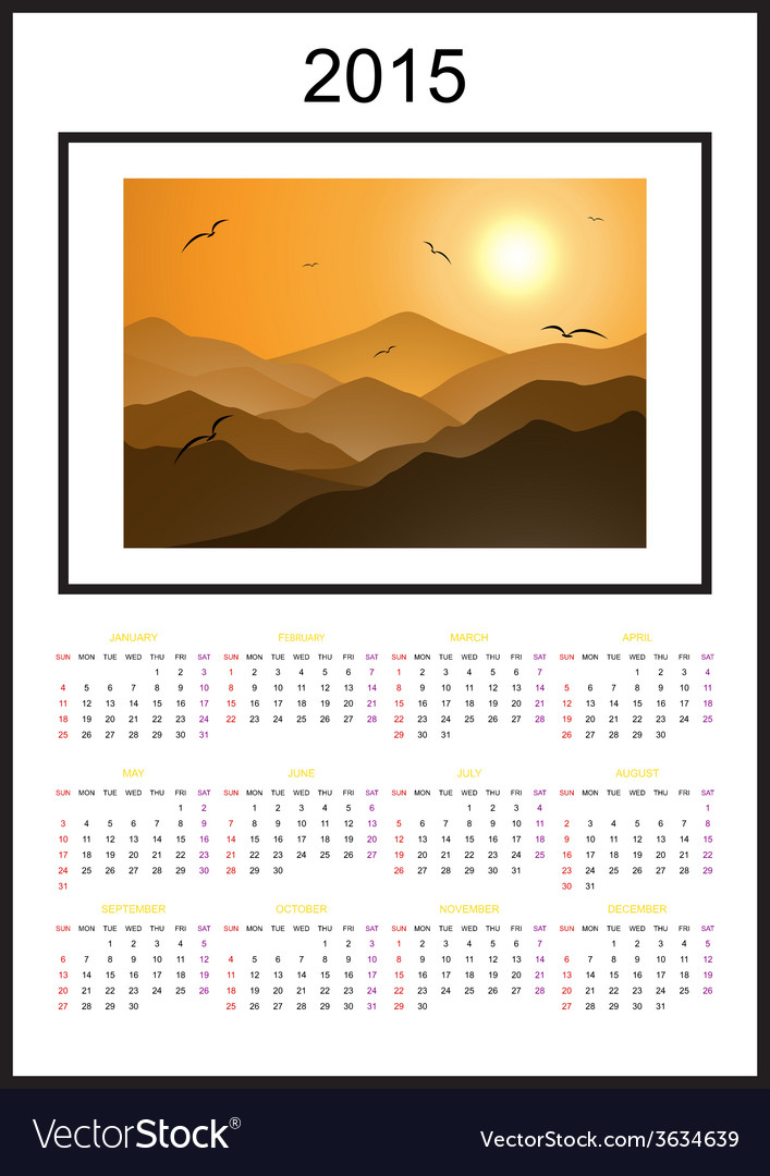 Calendar 2015 sun mountain landscape vector | Price: 1 Credit (USD $1)