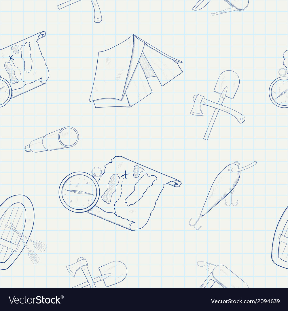 Camping hand drawn seamless pattern vector | Price: 1 Credit (USD $1)