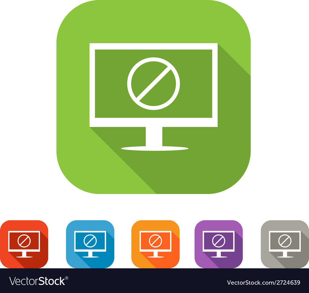 Computer with deny sign flat icon vector | Price: 1 Credit (USD $1)