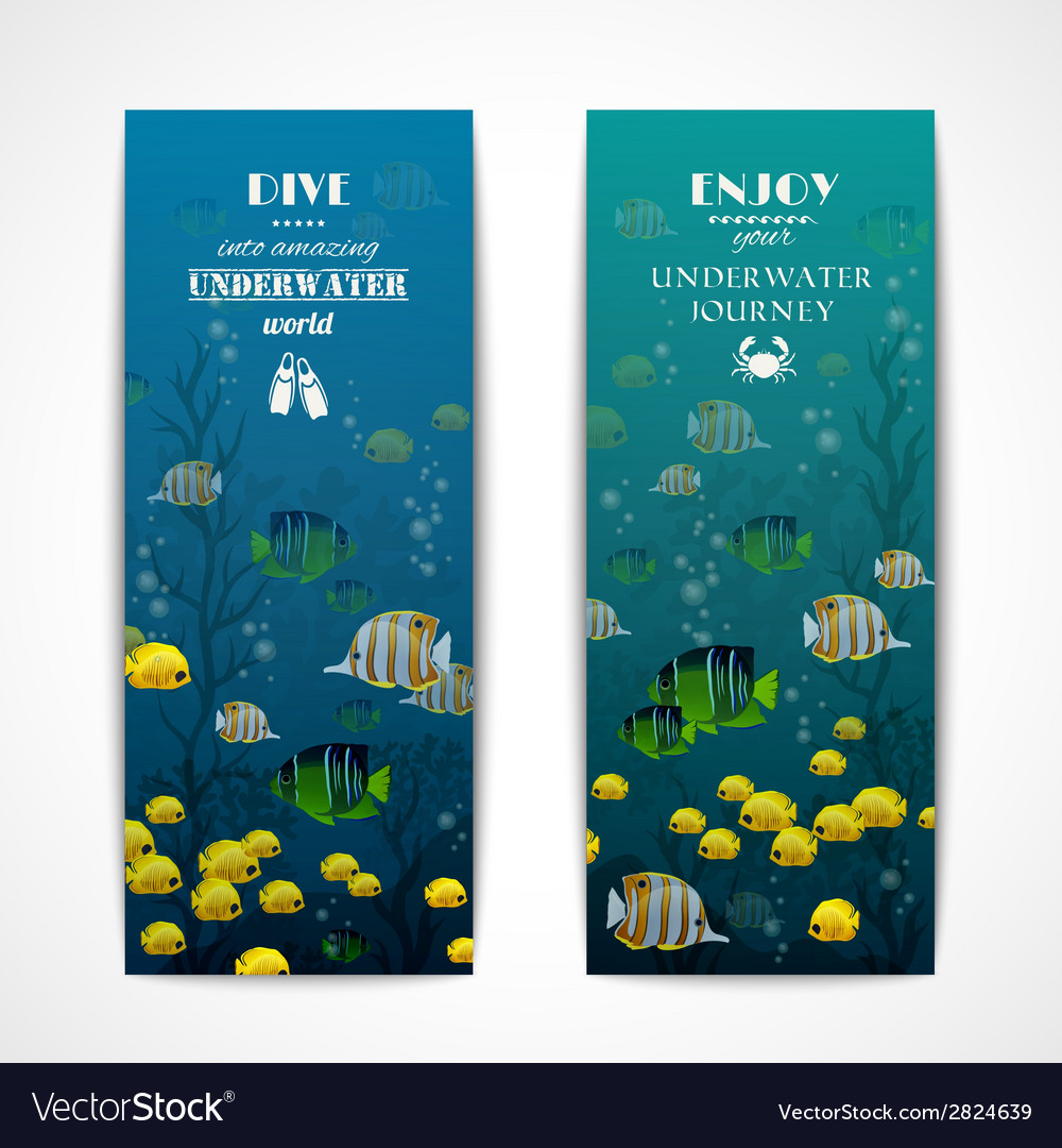Diving vertical banners vector | Price: 1 Credit (USD $1)