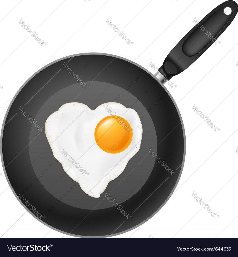 Frying pan with heart-shaped fried egg on white vector | Price: 1 Credit (USD $1)