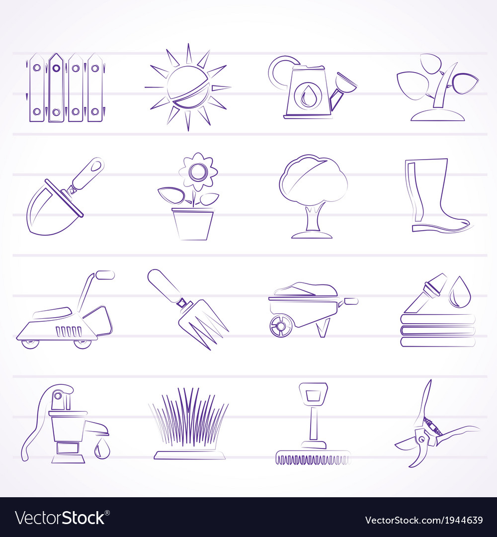 Gardening tools and objects icons vector   Price: 1 Credit (USD $1)