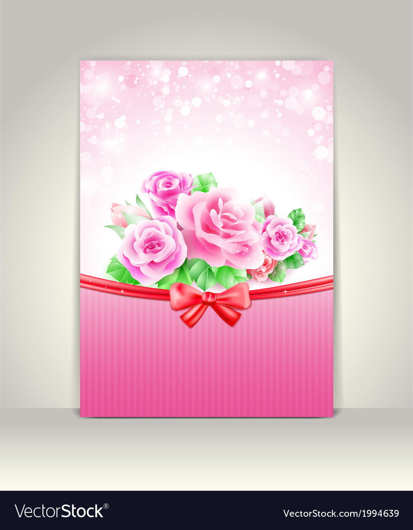 Greeting card with roses vector | Price: 1 Credit (USD $1)