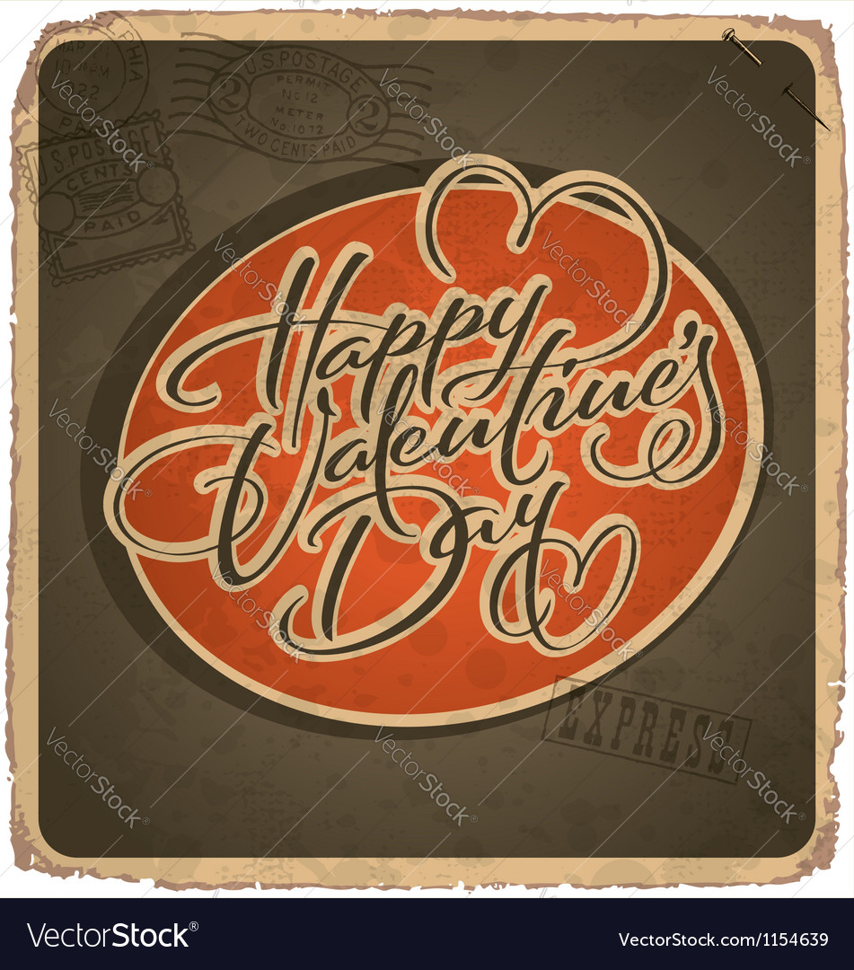 Hand-lettered vintage valentines card vector | Price: 1 Credit (USD $1)