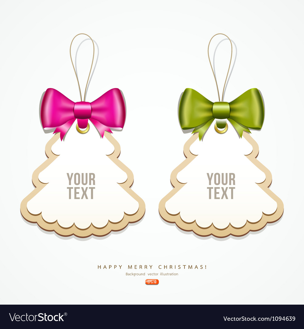 Label paper and colorful ribbons merry christmas vector | Price: 1 Credit (USD $1)