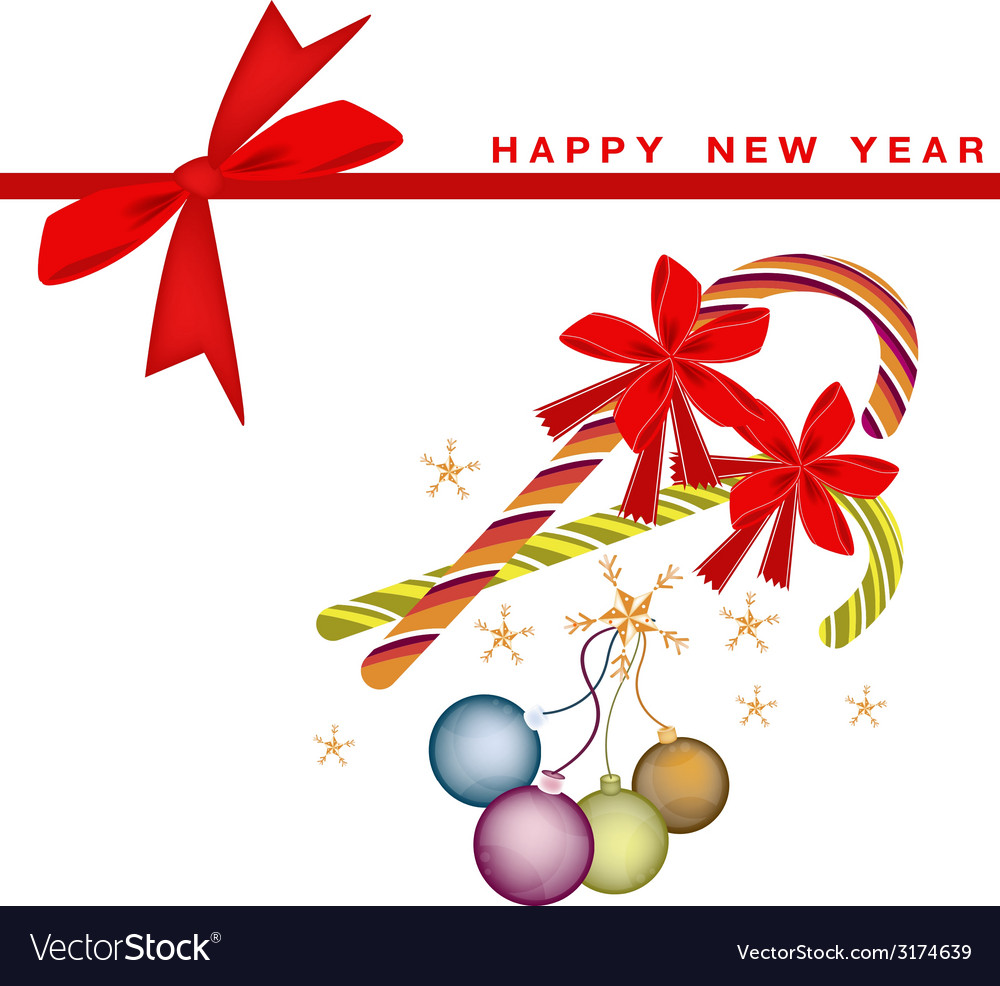 New year card with christmas balls and candy canes vector   Price: 1 Credit (USD $1)