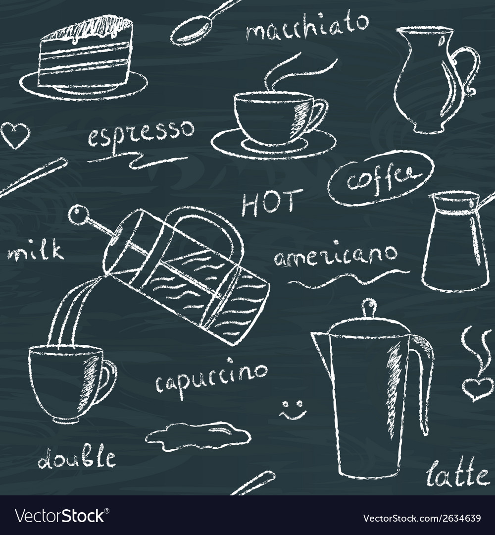 Seamless pattern with chalkboard coffee items vector | Price: 1 Credit (USD $1)