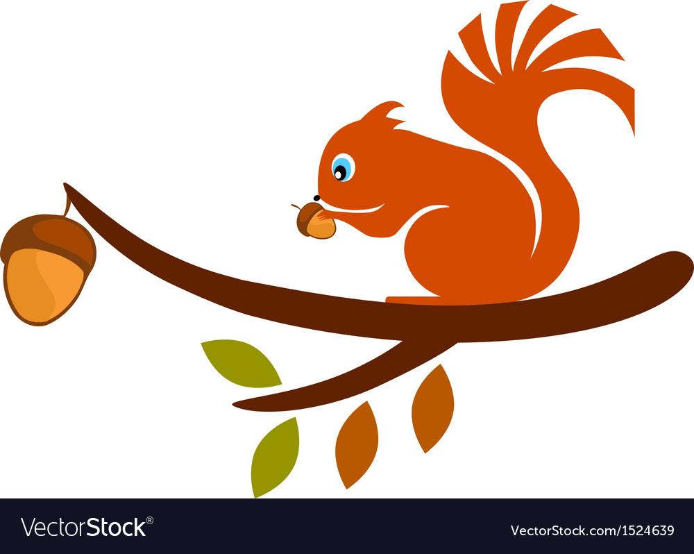Squirrel on tree vector   Price: 1 Credit (USD $1)