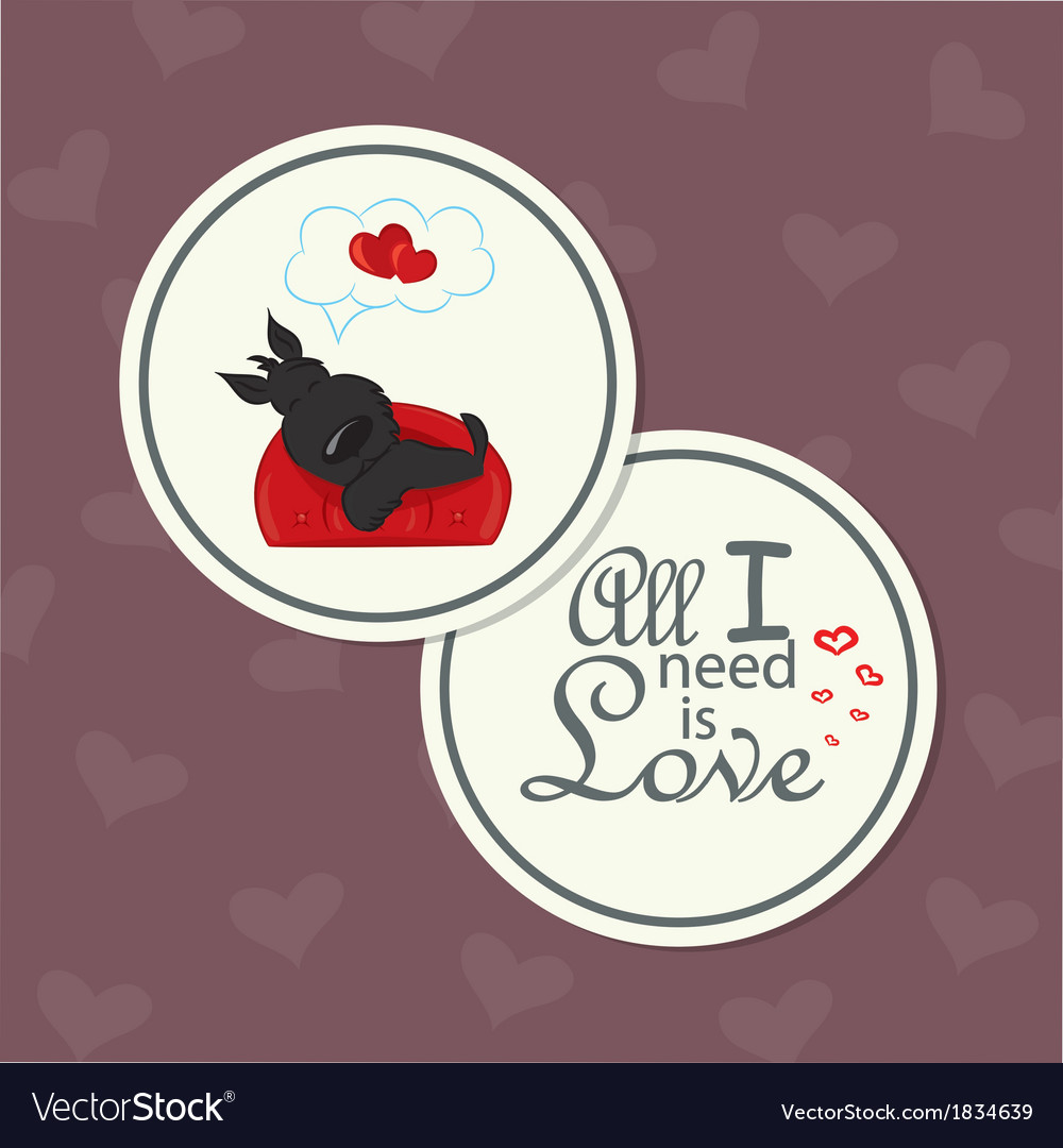 Valentine card with dog on sofa vector | Price: 1 Credit (USD $1)