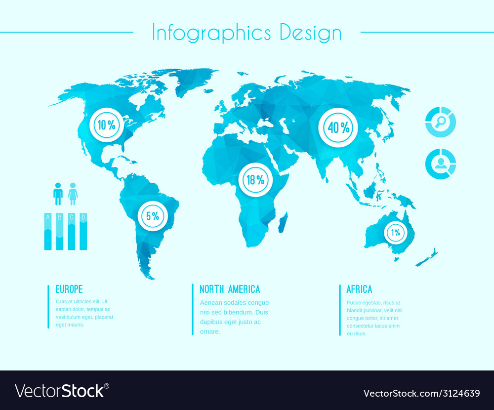 World map infographic template vector   Price: 1 Credit (USD $1)
