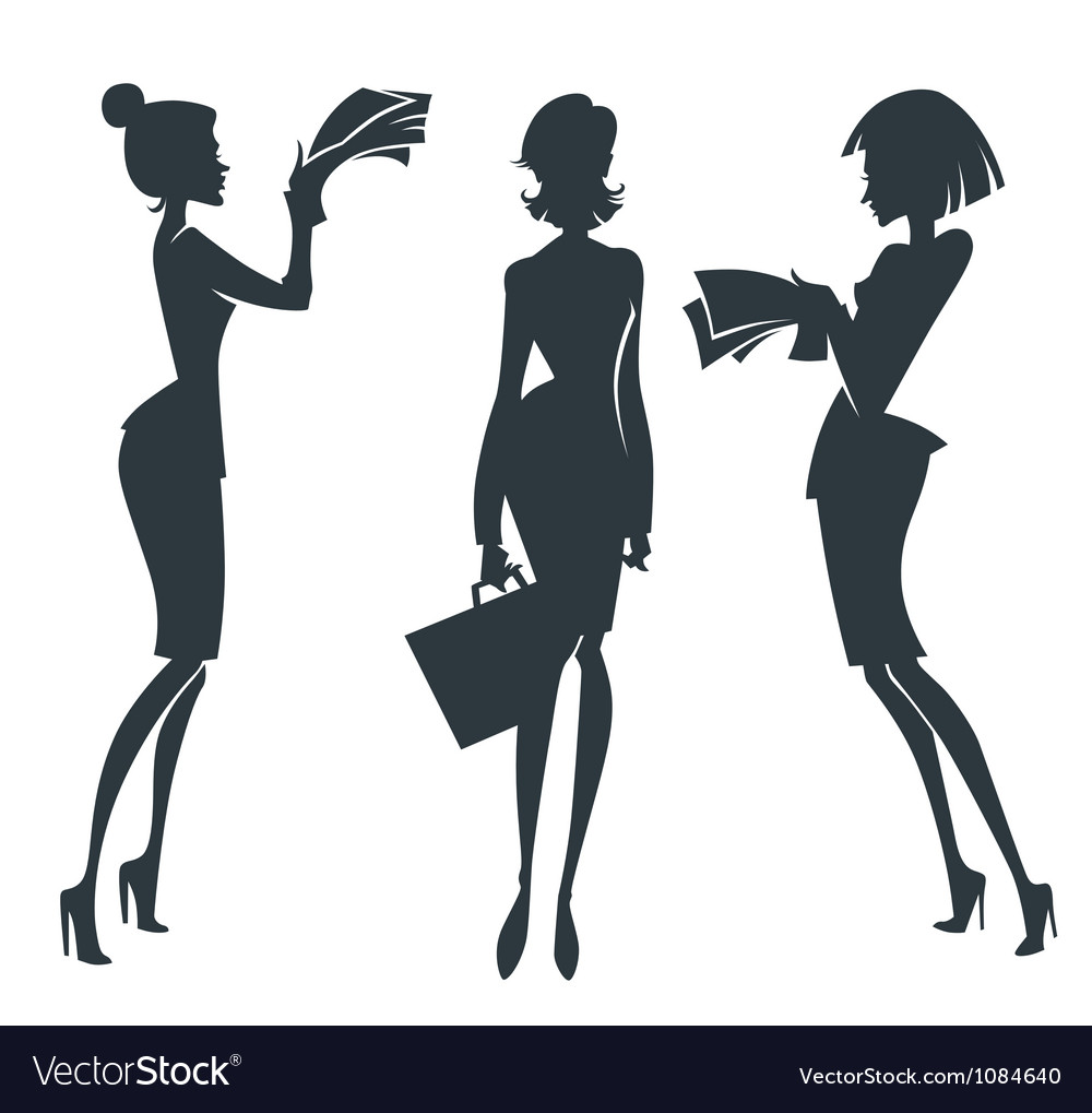 Collection of business girl silhouettes vector