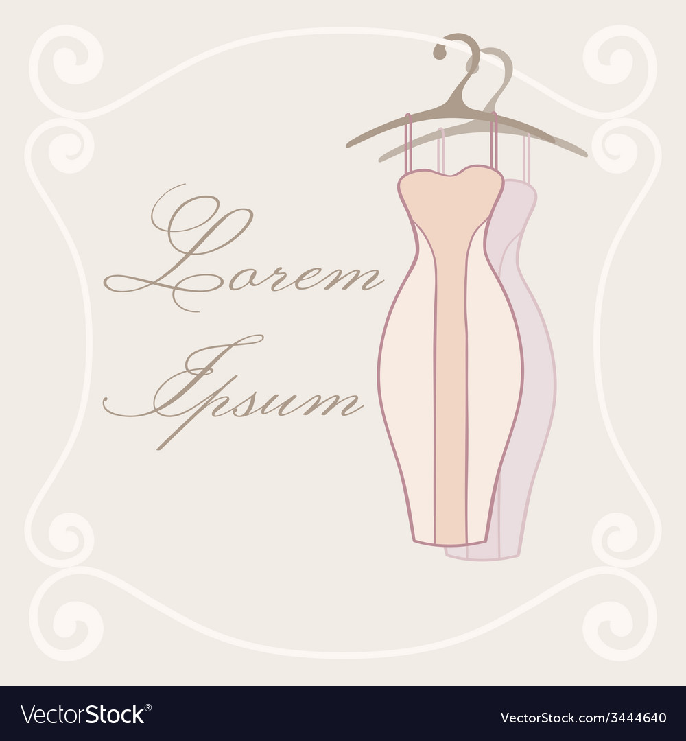Dresses on hangers invitation tamplate vector | Price: 1 Credit (USD $1)