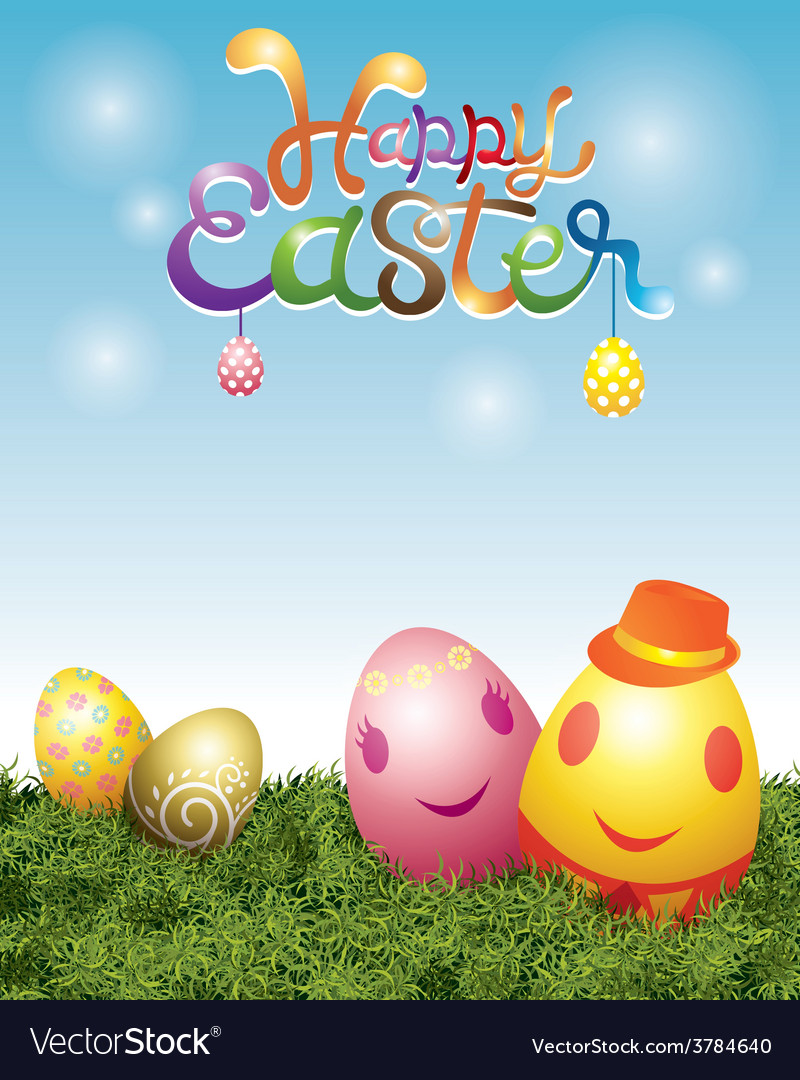 Easter eggs with smiling face vector | Price: 3 Credit (USD $3)