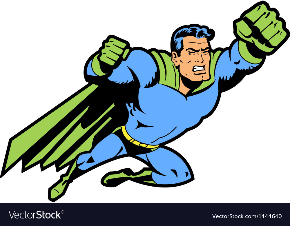 Flying superhero with clenched fist vector | Price: 1 Credit (USD $1)