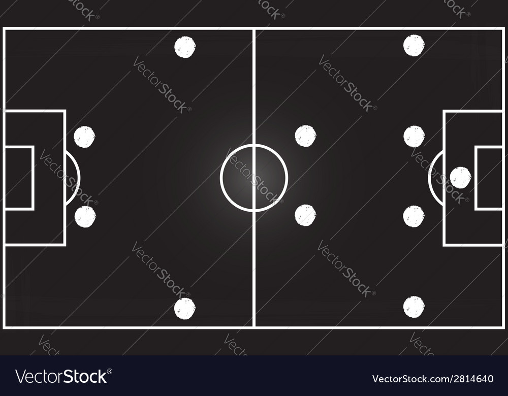 Football field with 4-4-2 formation vector | Price: 1 Credit (USD $1)