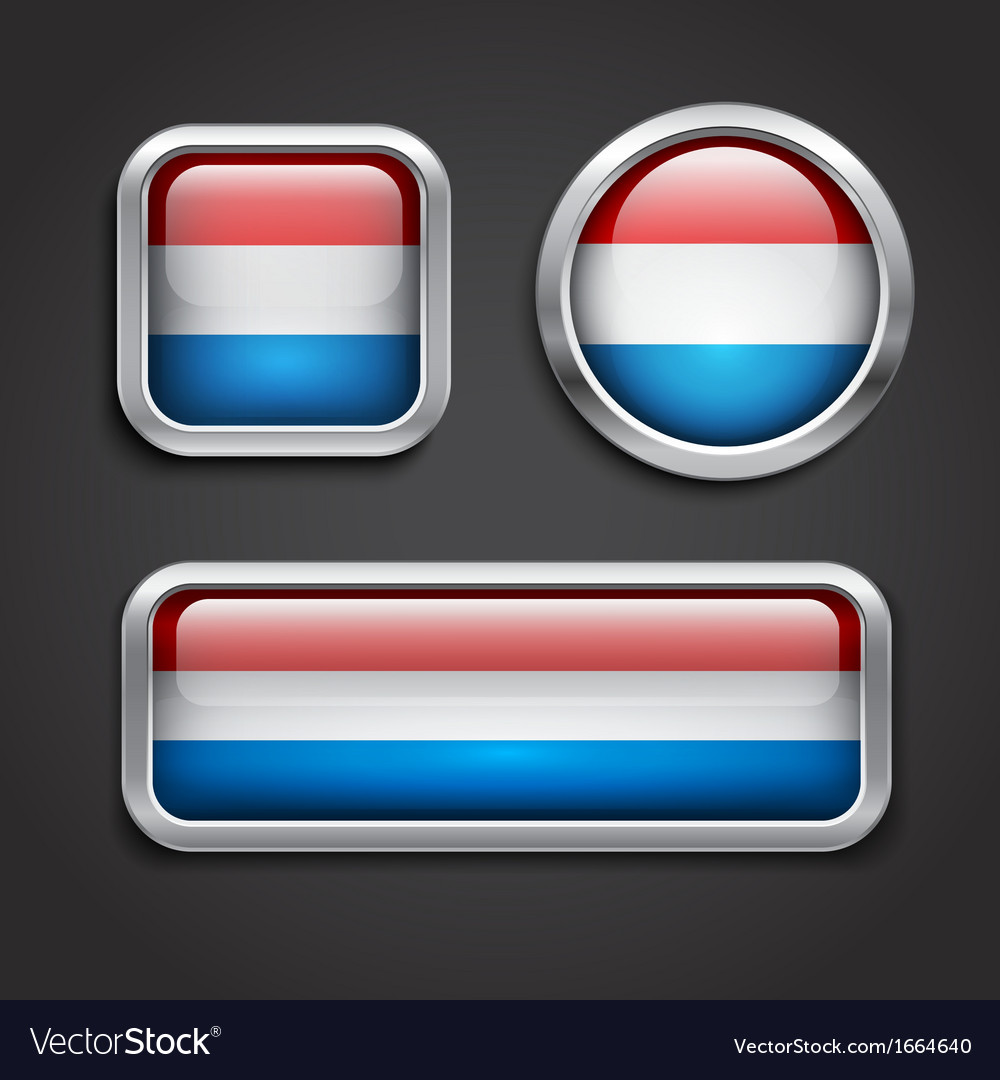 Luxemburg flag glass buttons vector | Price: 1 Credit (USD $1)