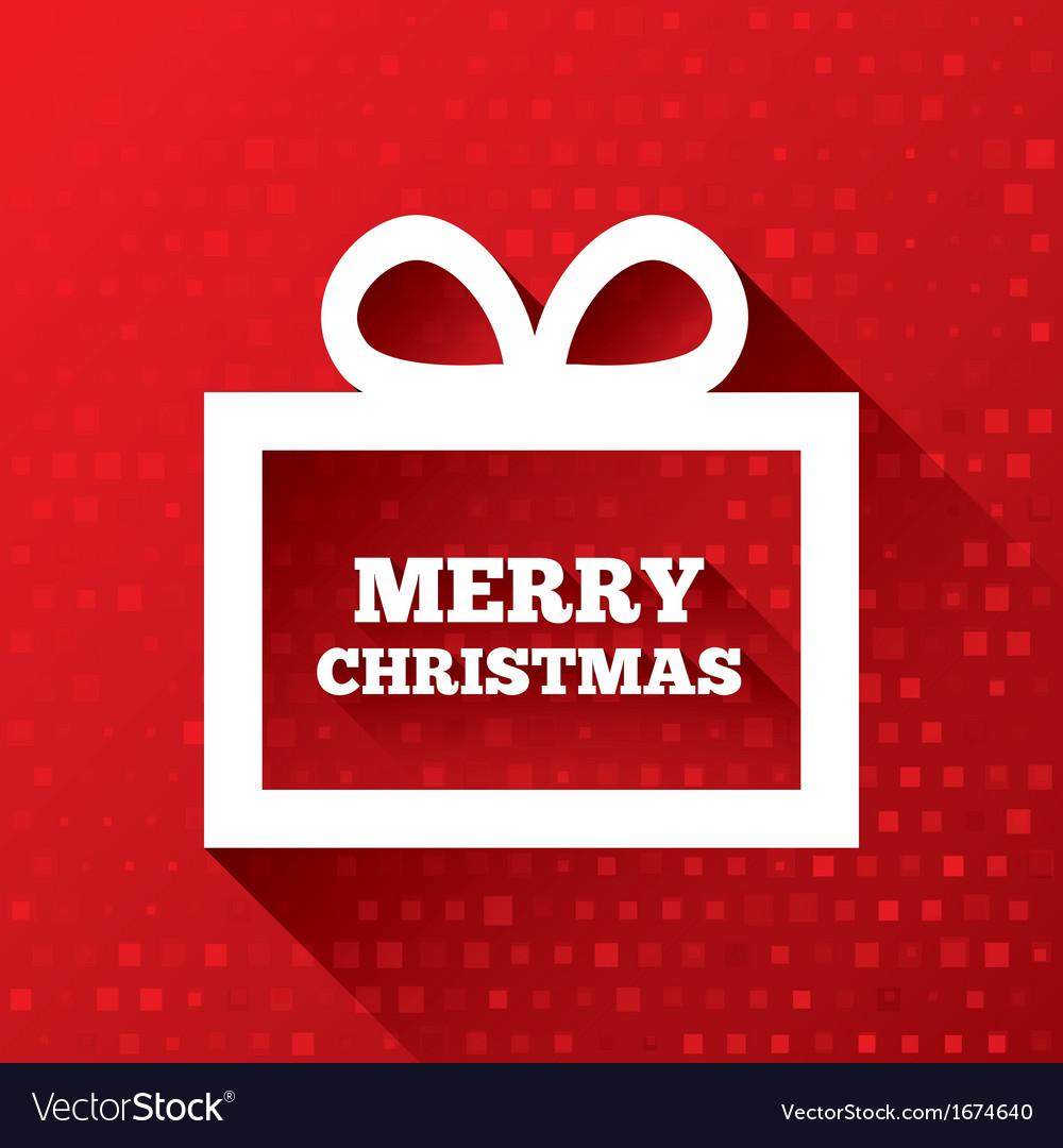 Merry christmas greeting card on red background vector | Price: 1 Credit (USD $1)