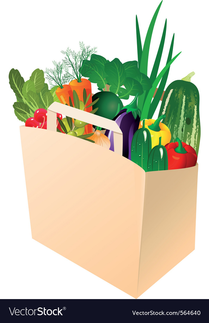 Paper bag with fresh vegetables vector | Price: 1 Credit (USD $1)