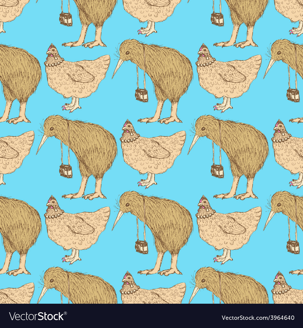 Sketch kiwi and choken in vintage style vector | Price: 1 Credit (USD $1)