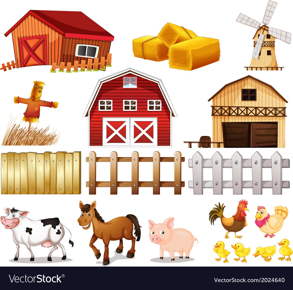 Things and animals found at the farm vector | Price: 3 Credit (USD $3)