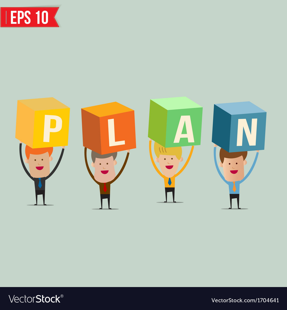 Business man showing plan box - - eps10 vector | Price: 1 Credit (USD $1)