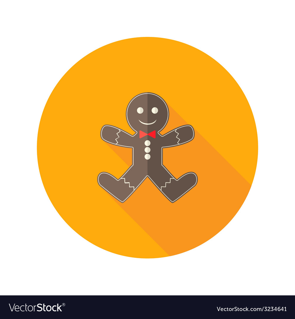 Christmas gingerbread man with red bow flat icon vector | Price: 1 Credit (USD $1)