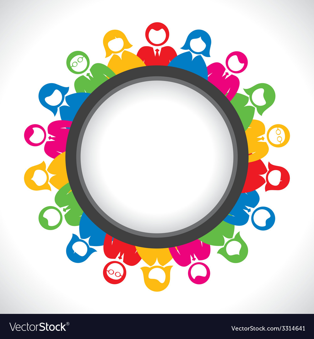 Colorful business men and women arrange in round t vector | Price: 1 Credit (USD $1)