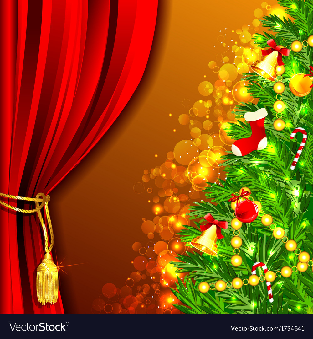 Decorated christmas tree vector | Price: 1 Credit (USD $1)