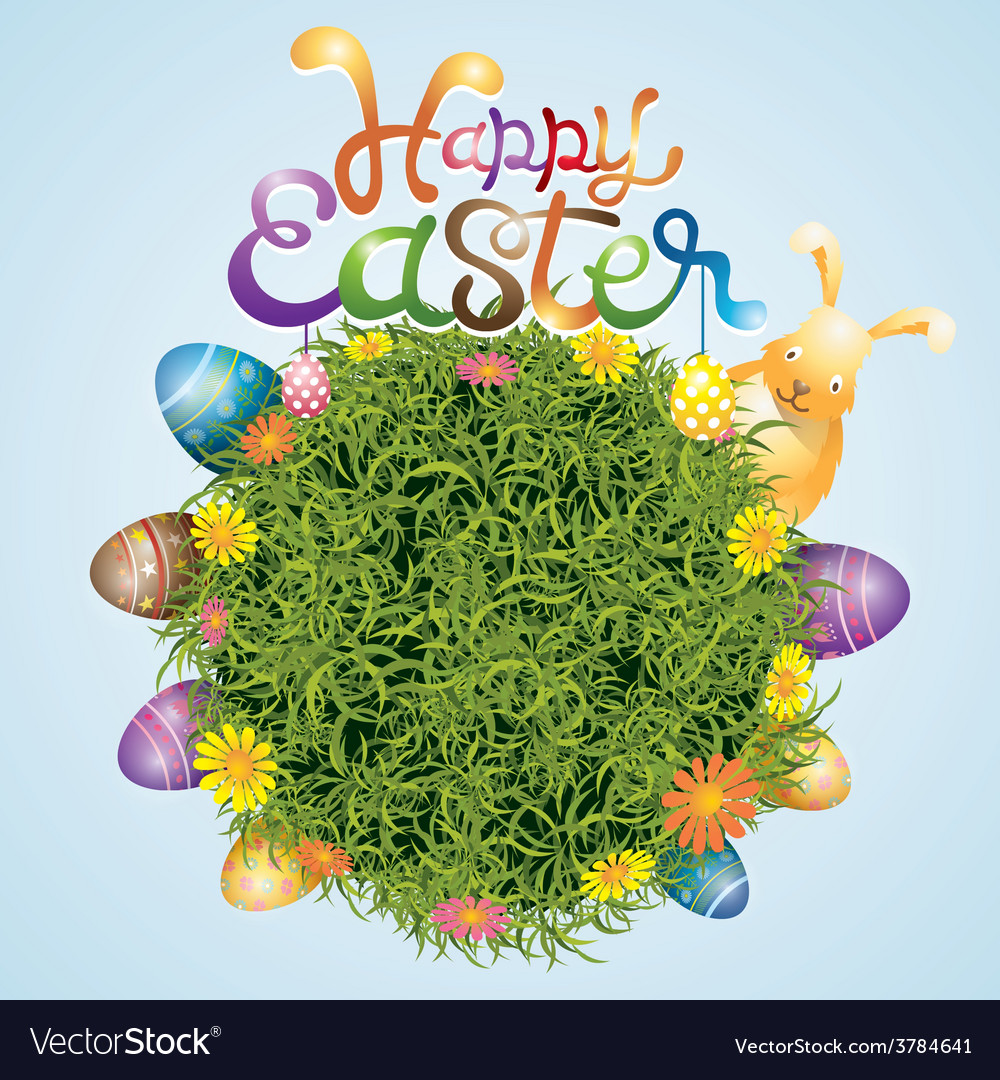 Easter eggs and bunny with grass background vector | Price: 3 Credit (USD $3)