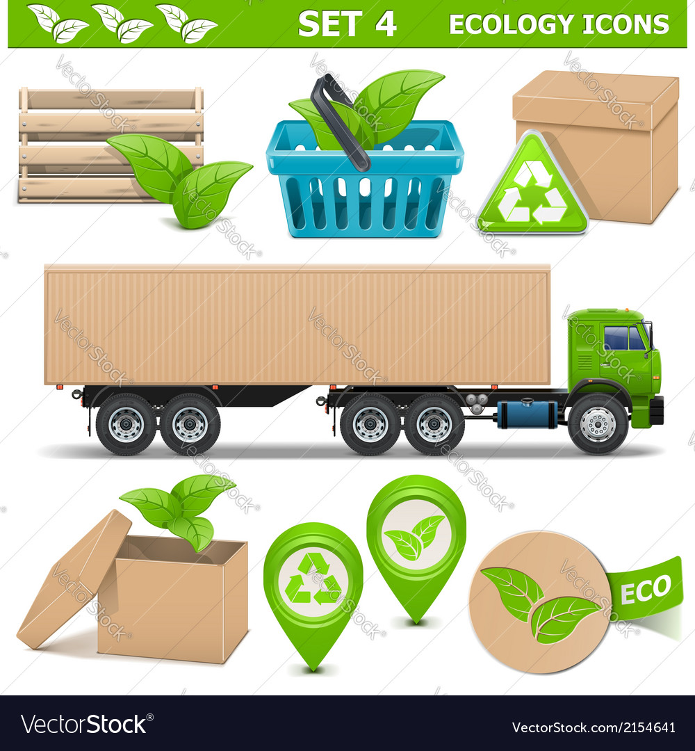 Ecology icons set 4 vector | Price: 3 Credit (USD $3)
