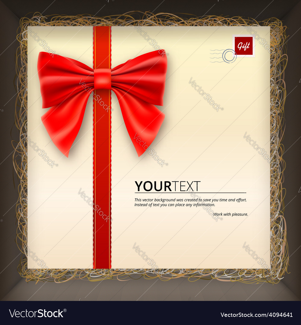 Gift envelope with a bow in box vector | Price: 1 Credit (USD $1)