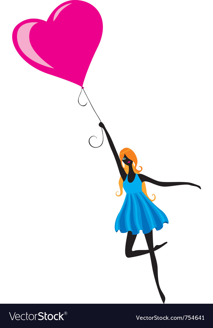 Girl flying in air balloon vector | Price: 1 Credit (USD $1)
