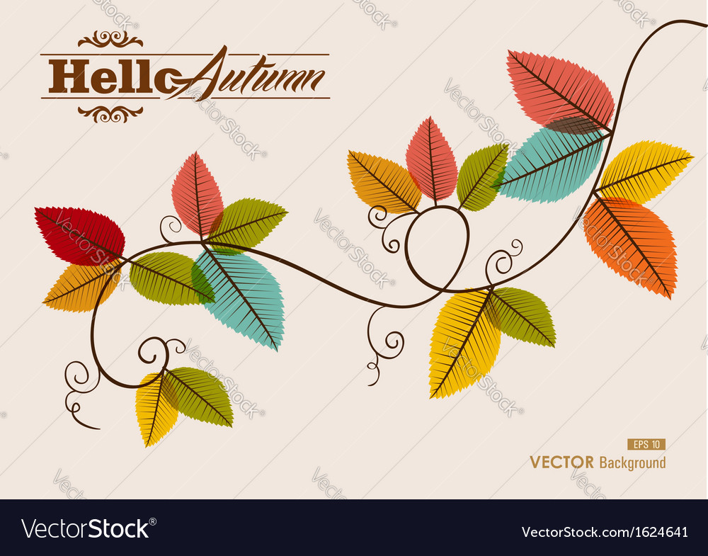 Hello autumn text tree branch with leaves vector | Price: 1 Credit (USD $1)