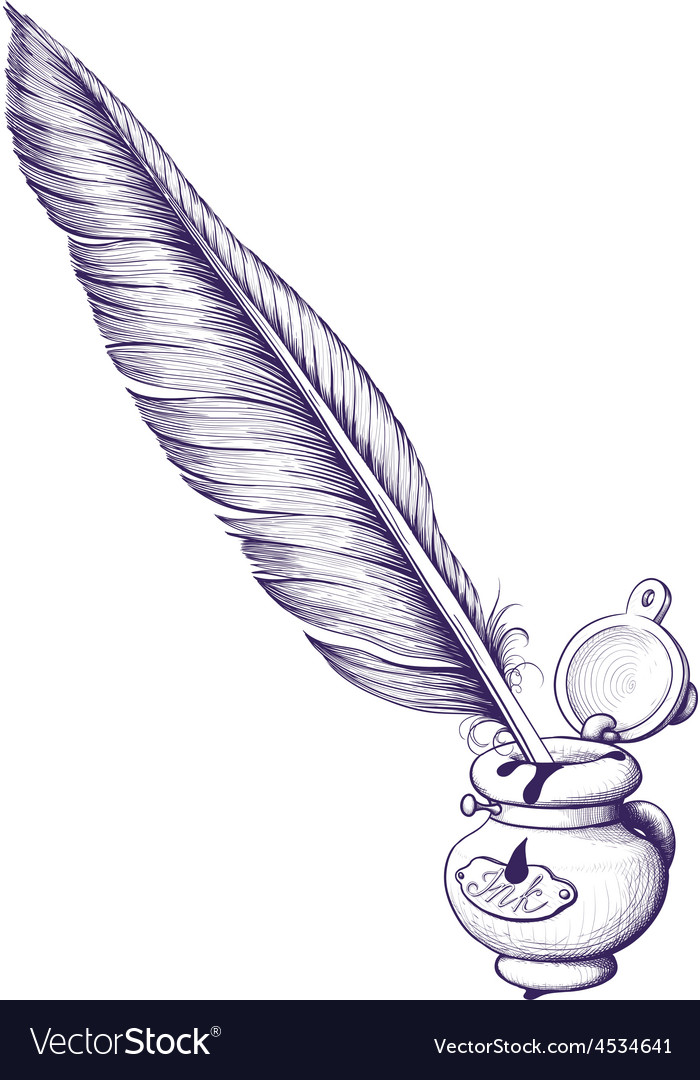Inkwell and quill pen vector | Price: 1 Credit (USD $1)