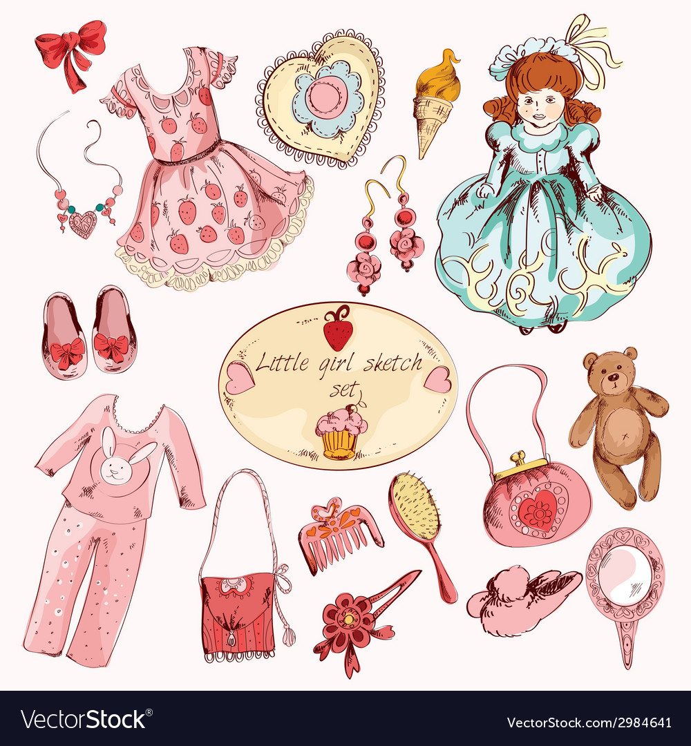 Little girl accessories colored items set vector | Price: 1 Credit (USD $1)