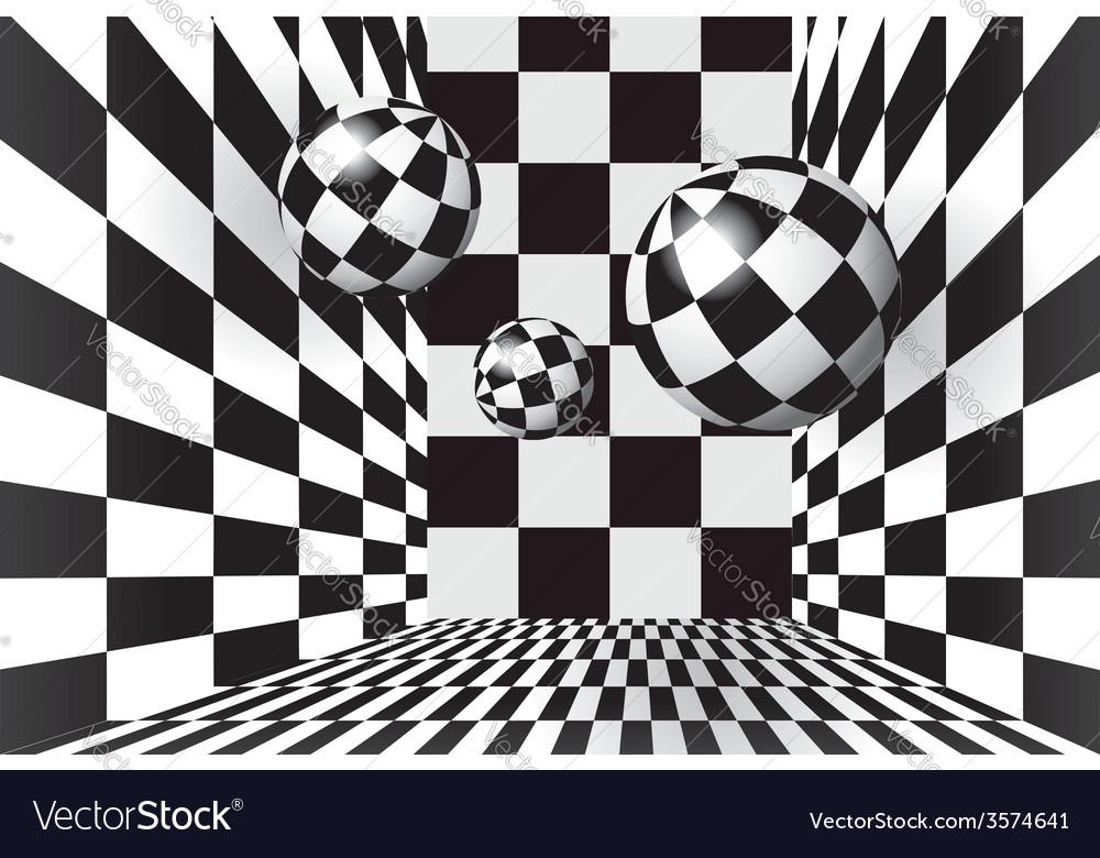 Magic balls in checkered room vector   Price: 1 Credit (USD $1)