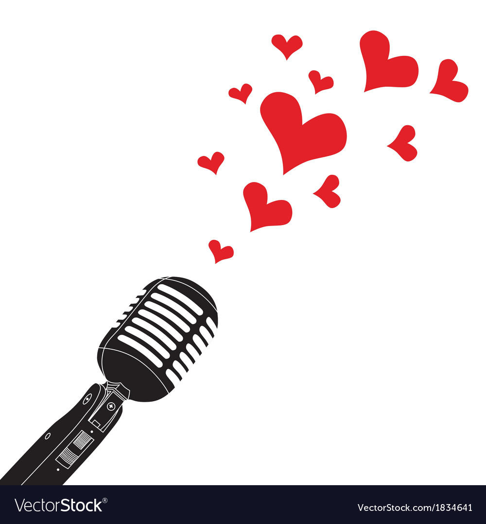 Microphone heart love valentines day vector | Price: 1 Credit (USD $1)