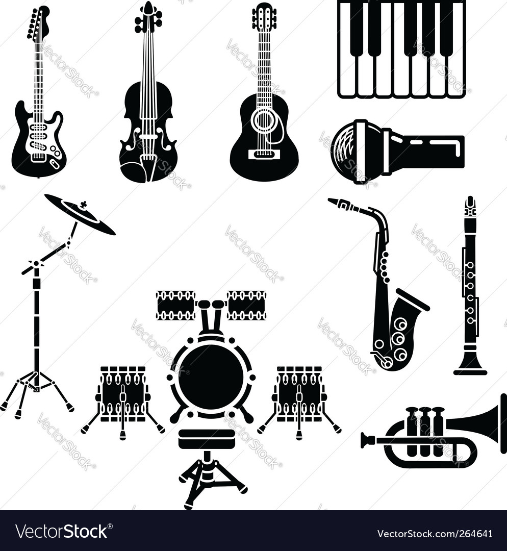 Musical instrument icons vector