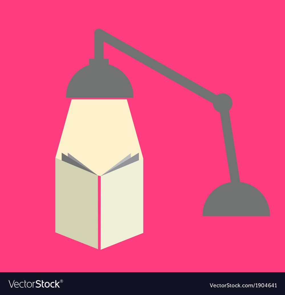 Reading with a lamp in pink background vector | Price: 1 Credit (USD $1)